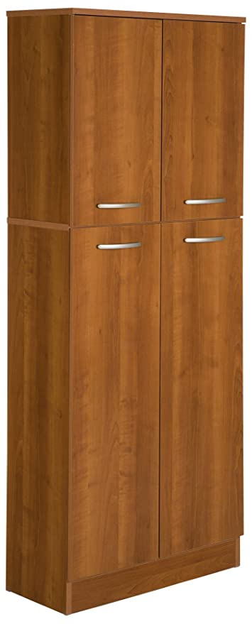 South Shore 4 Door Storage Pantry With Adjustable Shelves, Morgan Cherry