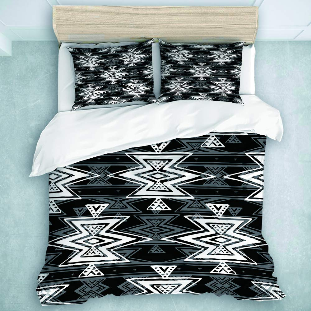 MIFSOIAVV 3-Piece Duvet Cover, Colorful Black and White Tribal Navajo Aztec Abstract Geometric Ethnic Hipster, Light-Weight Microfiber Duvet Cover Set (King Size)