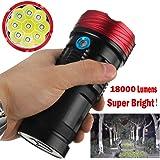 OVERMAL 18000Lumen 9X Xml T6 Led Lampe De Poche De Travail De Chasse Lampe