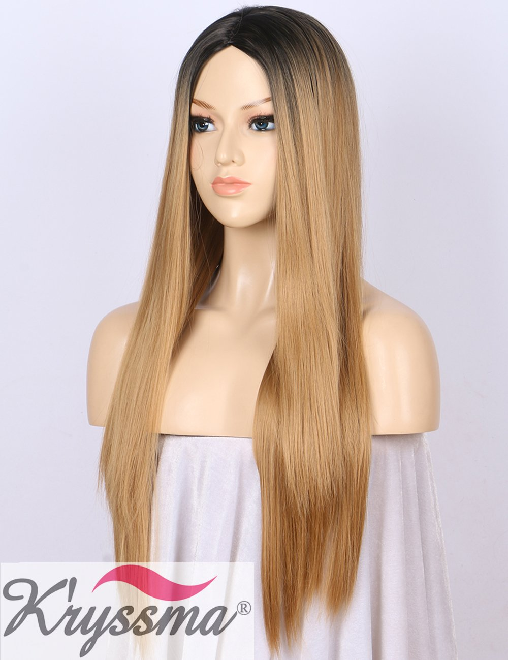 Kryssma Ombre Synthetic Wig M03800 - Full Machine Made Long Straight Blonde Wig Black