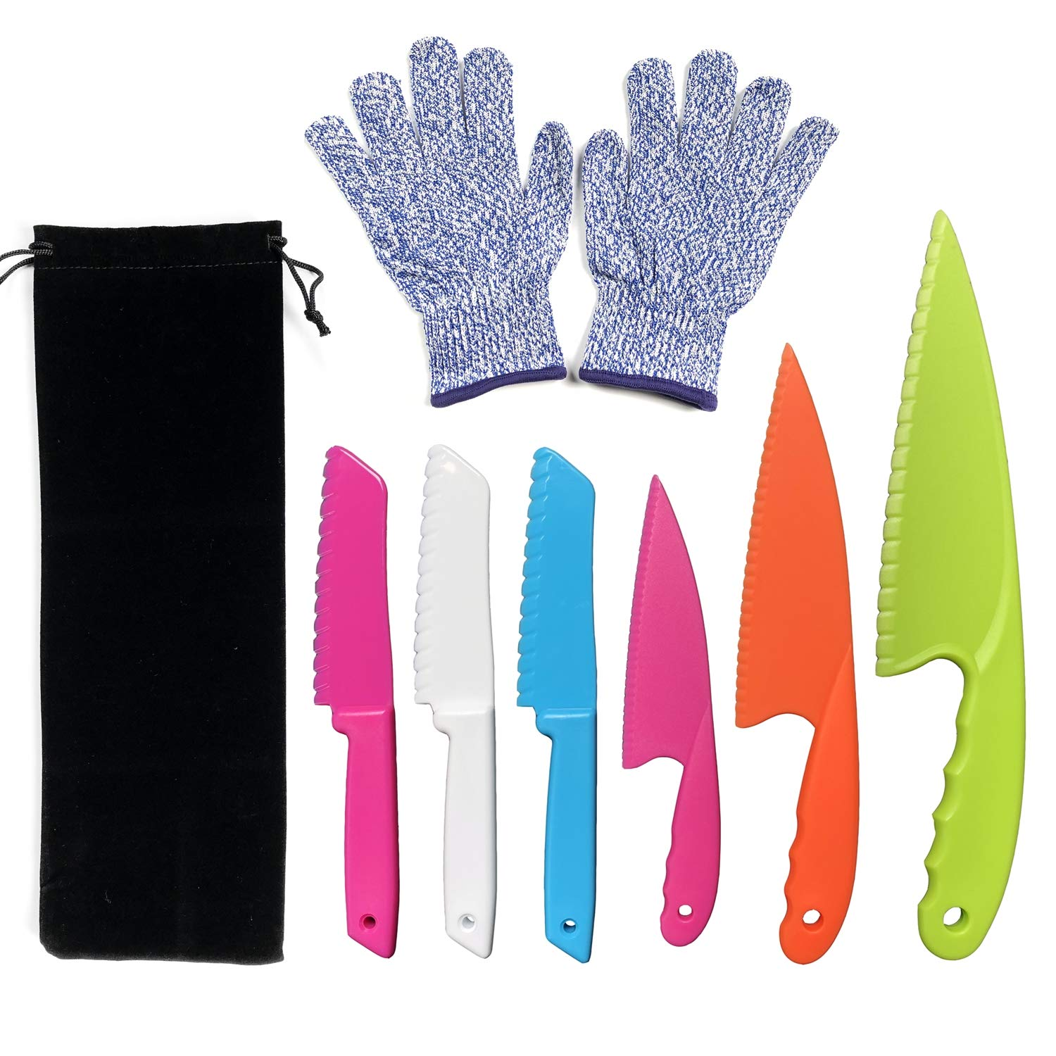 CCUT 6 Pieces Kid Plastic Kitchen Knife Set Children's Safe Cooking Knives Set with Cut Resistant Gloves (Ages 6-12) Kids Safe Knife for Fruit, Bread, Cake, Lettuce, Salad (Multi-color 1)