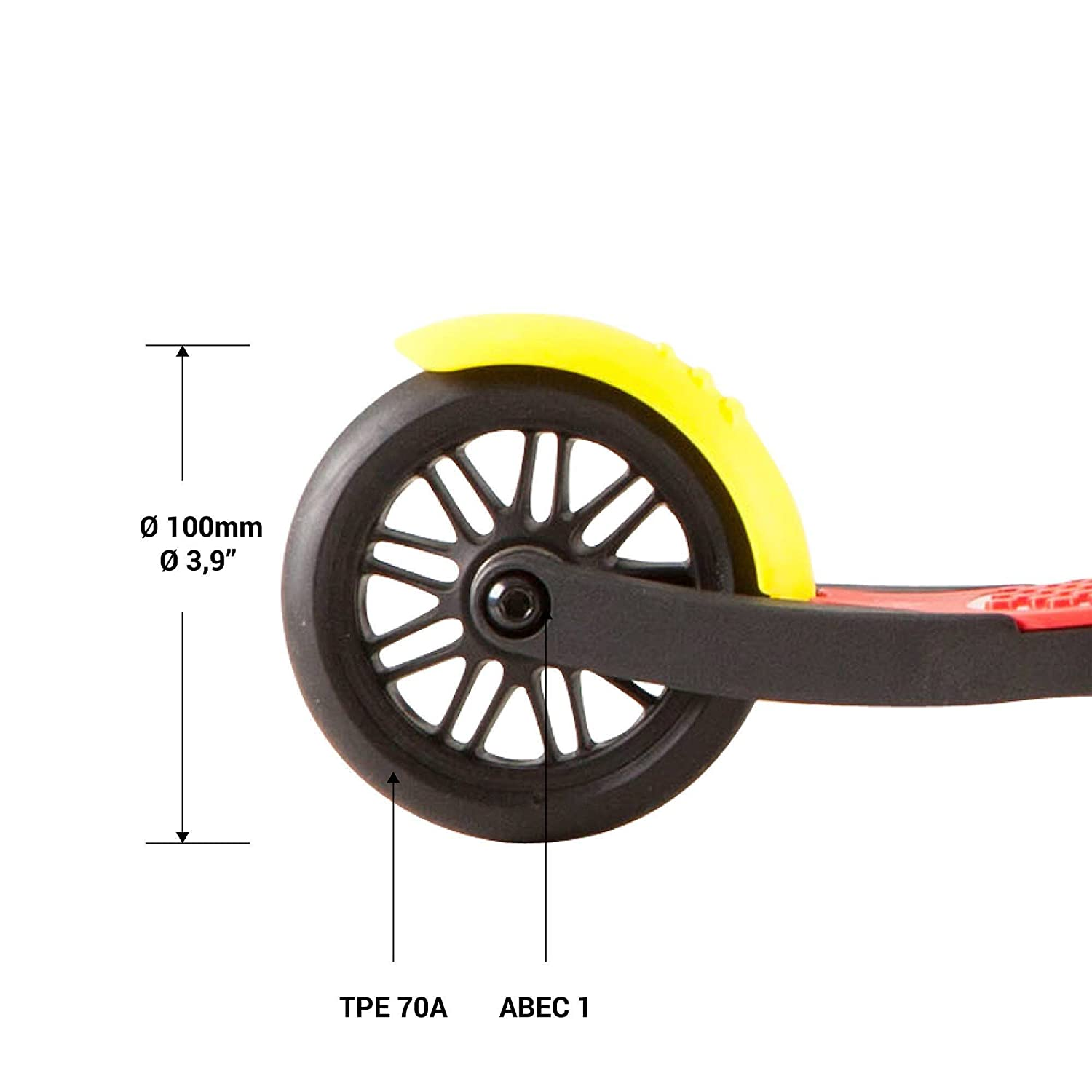 OXELO B1 - 3 Rubber Wheels Scooter for Kids (up to 44 lb) Foldable Kick Scooter with Adjustable Height Handlebar. Lightweight 3.30 lb
