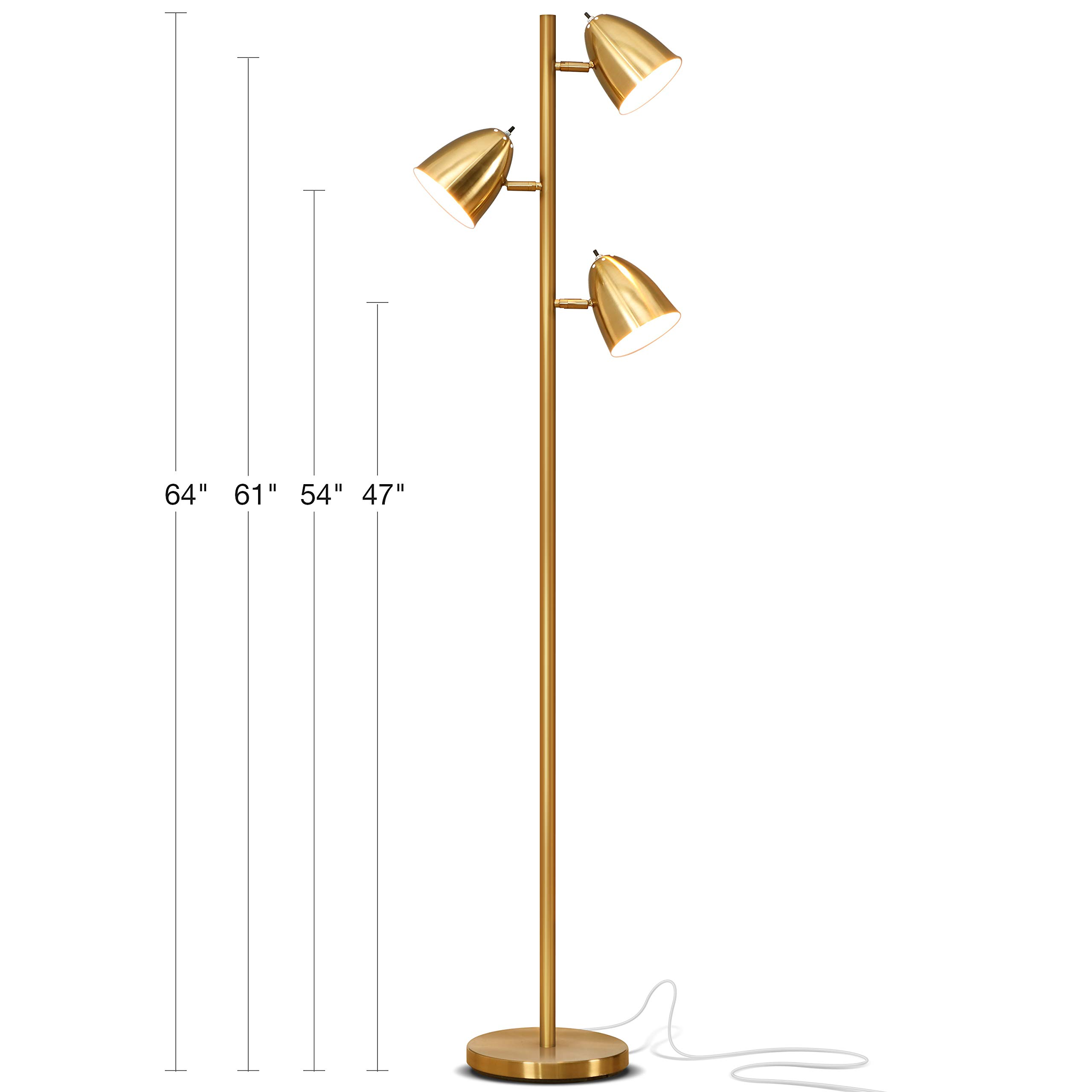 Brightech Jacob - LED Reading and Floor Lamp for Living Rooms & Bedrooms - Classy, Mid Century Modern Adjustable 3 Light Tree - Standing Tall Pole Lamp with 3 LED Bulbs - Antique Brass/Gold by Brightech (Image #3)