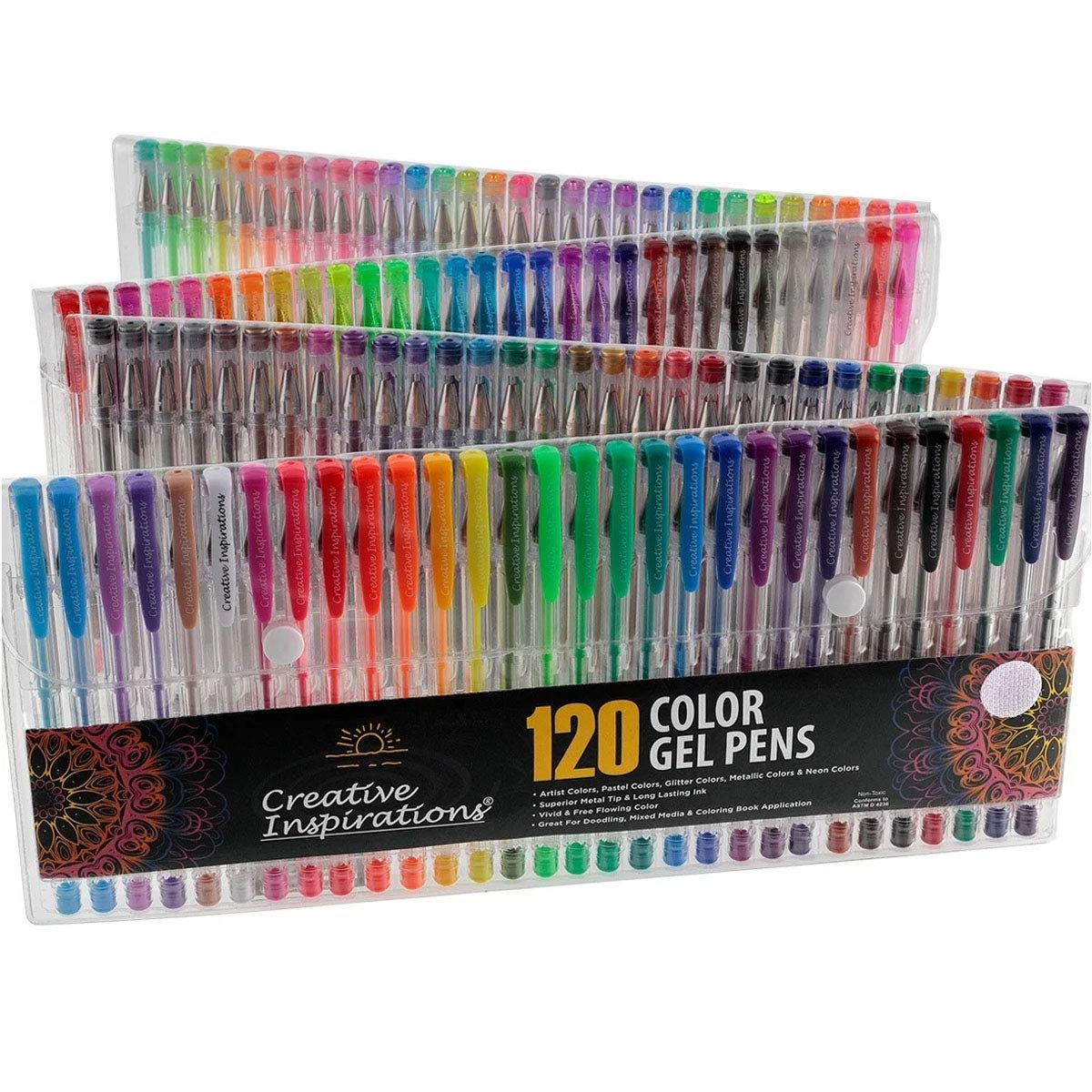 Creative Inspirations 120 Gel Pen Set for Adult Coloring Books, Scrapbooking, Drawing, Metallic, Glitter, Neon, Pastel, Artist Colors New Formula Less Smearing | Assorted Colors by Creative Inspirations