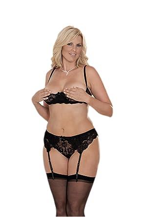 e324be0271 Amazon.com  Sexy Women s Cupless Lace Bra Garter Belt and Thong Set ...