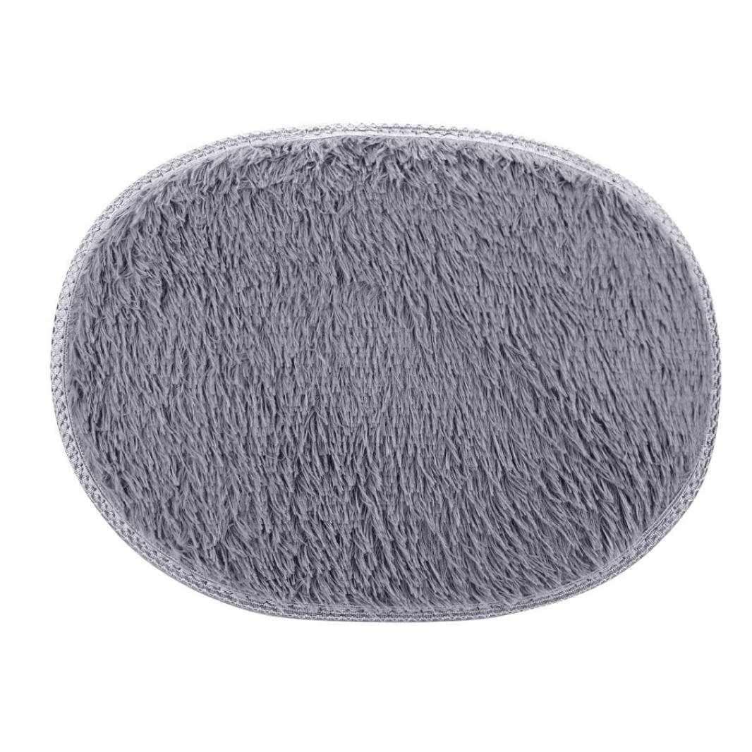 LNGRY 1PC 11.8''x19.7''/30x50cm Small Oval Non Slip Fluffy Shaggy Home Bedroom Bathroom Floor Door Shower Rugs Carpet Bath Mat Rugs (Gray)