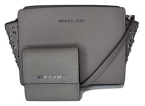 ede38e8a55b2 MICHAEL Michael Kors Selma Stud MD Messenger Crossbody bundled with Michael  Kors Jet Set Travel SM