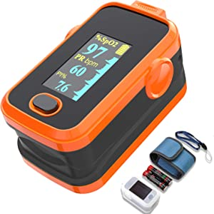 Pulse oxi fingertip with Plethysmograph and Perfusion Index, Portable Blood Oxygen Saturation Monitor for Heart Rate and SpO2 Level, O2 Monitor Finger for Oxygen,Pulse Ox,Oximetro, (Red-Orange)