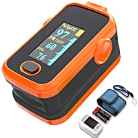 Pulse oximeter fingertip with Plethysmograph and Perfusion Index, Portable Blood...