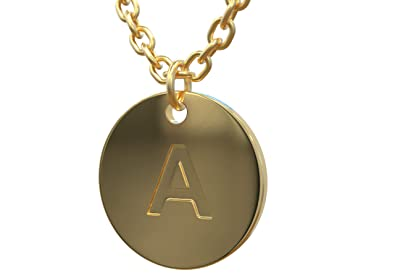 """6fbc08abd 18K Gold Initial Pendant Necklace for Women - Double Layered Adjustable  Chain 16""""-18"""""""