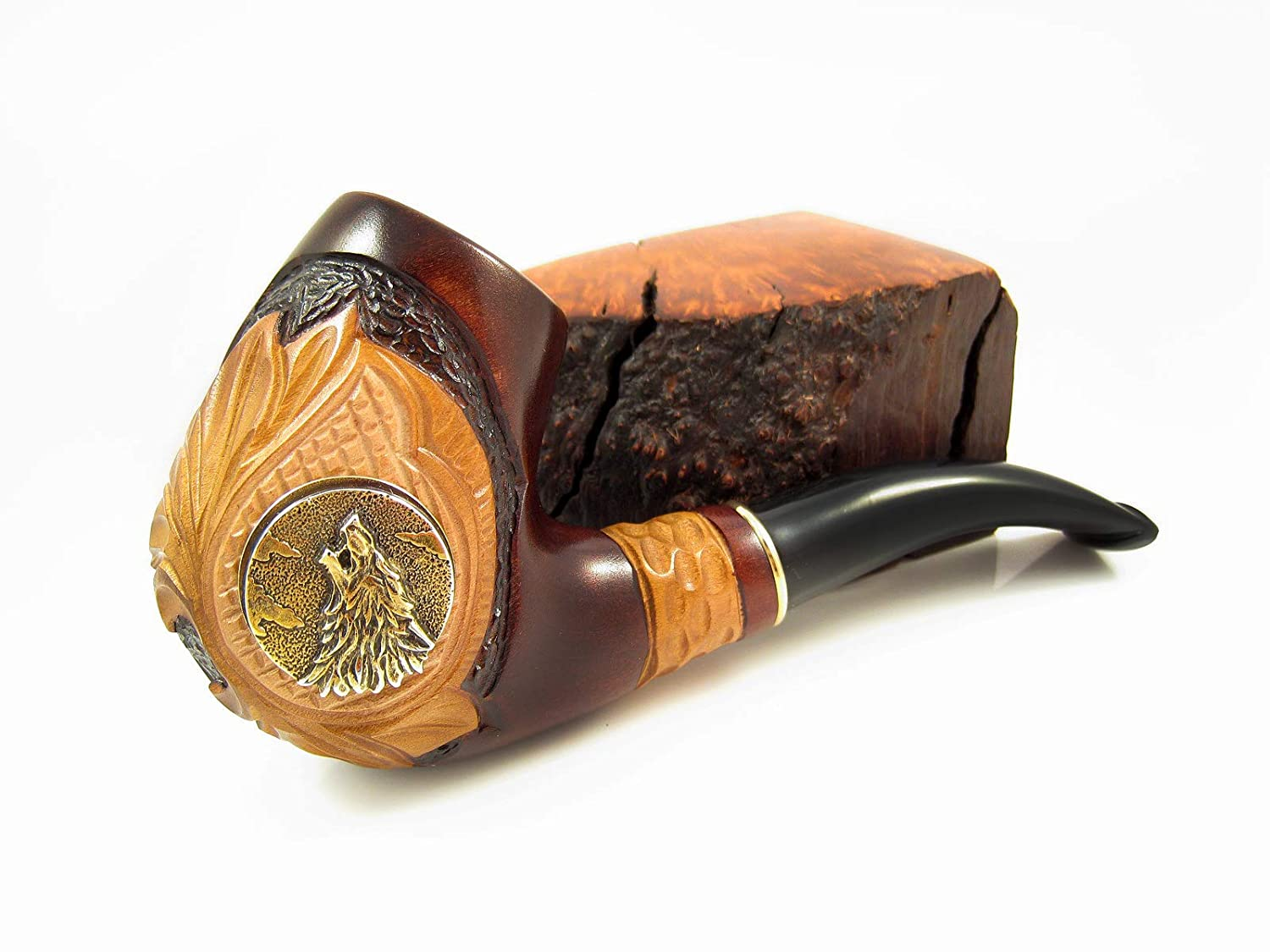 Fashion Decorated Smoking Pipe Carved Pear Root Wood SHERLOCK HOLMS /& Pouch Gift