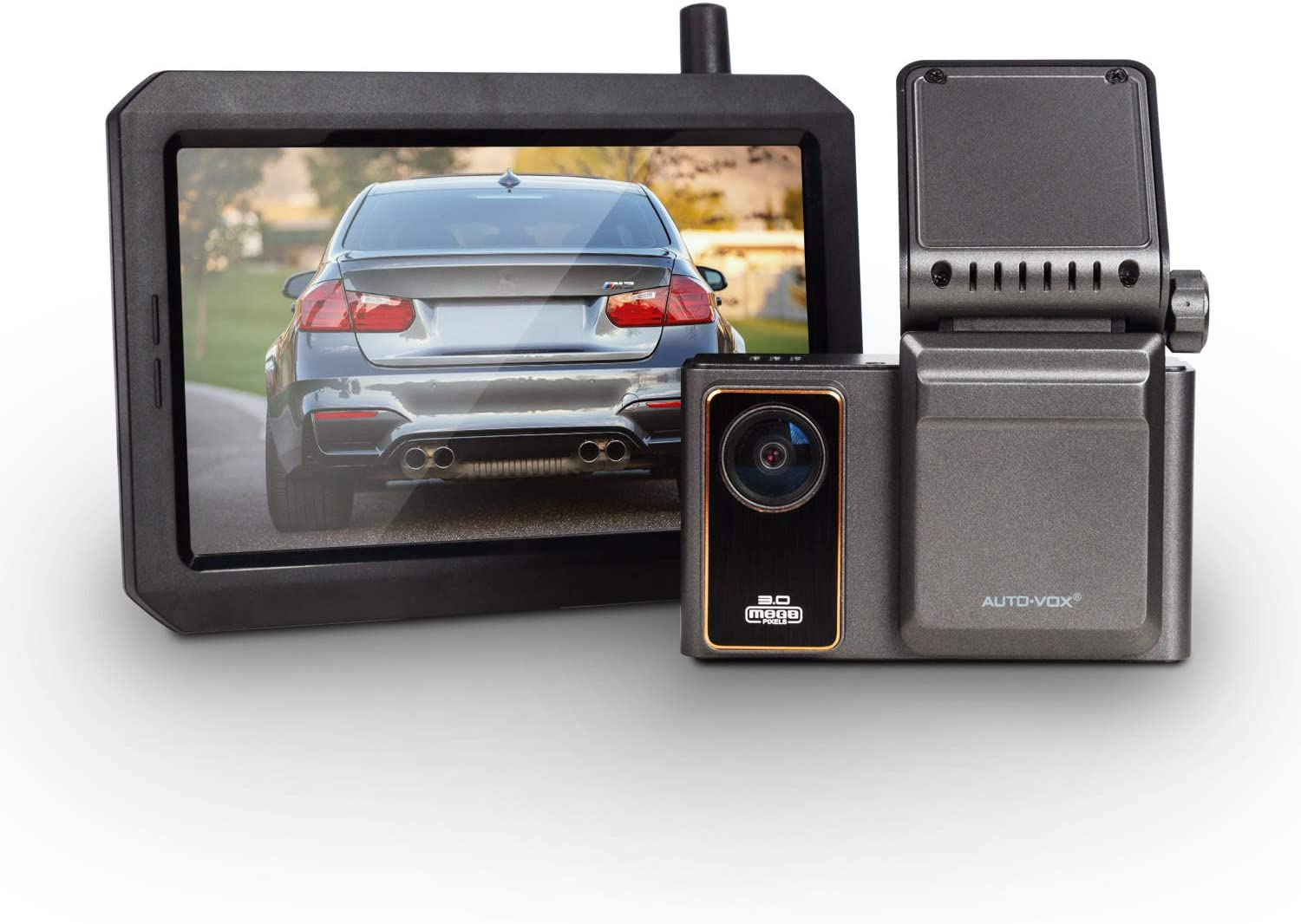 AUTO-VOX Safe Driving Set, AD1 Dual Dash Cam Front and Inside View & W7 Wireless Backup Camera for Drivier's Safety