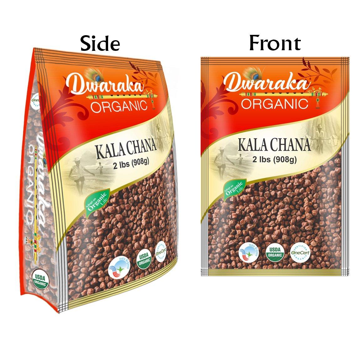 Dwaraka Organic Bengal Gram Whole Kaala Chana Lentil USDA Organic (2 lbs/908 g)