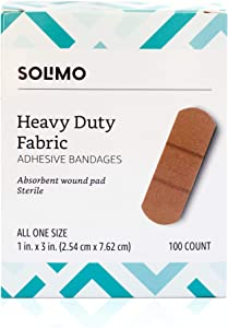 Amazon Brand - Solimo Heavy Duty Fabric Adhesive Bandages, One Size, 100 Count
