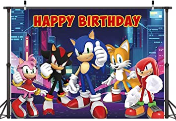 7x5ft Cartoon Sonic Hedgehog Backdrop Tall Building City Night View Background Children Boy Birthday Party Baby Shower Photo Booth Studio Props Decorations