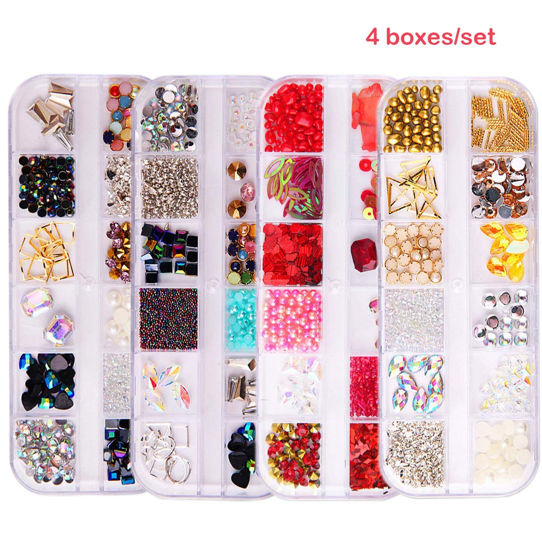4 Boxes Total 48 Grids Nail Jewelry Decoration Different Shape Different Color Flat Back Nail Rhinestones Sets Miss Callory