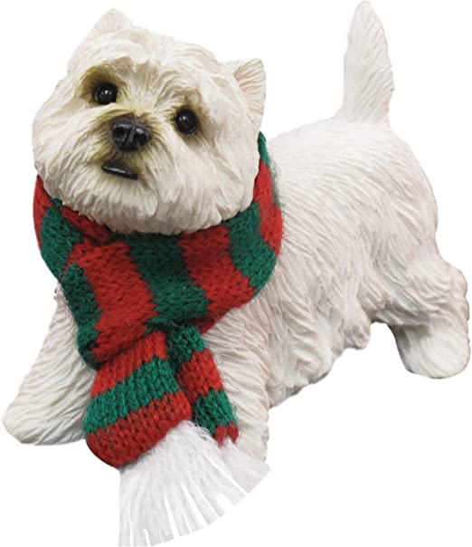 Sandicast Westie West Highland Terrier w//Red /& White Scarf Ornament Gift Dog