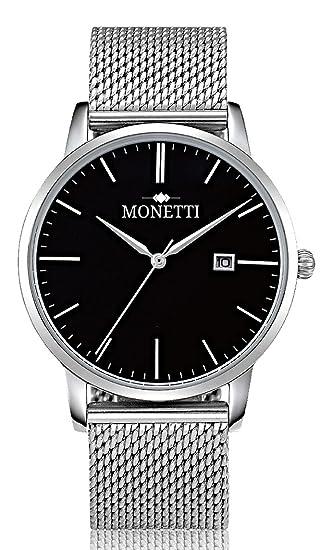MONETTI Unisex reloj de cuarzo analógico con brazalete de metal de plata en una exclusiva caja de regalo: Amazon.es: Relojes