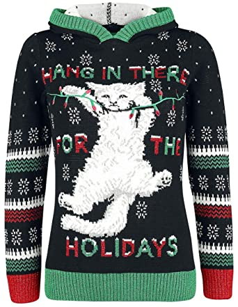 Kitten Christmas Sweater.Amazon Com Ugly Christmas Sweater Women S Kitten Hang In
