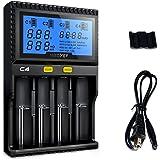 KINDEN急速充電器セット 単3 単4 ニッケル水素充電器 4本用 li-ion / IMR/ INR / ICR / Ni-MH / Ni-Cd / LiFePO4対応 大容量モデル LCD付き 電池充電器