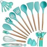 Kitchen Utensils Set Silicone Cooking Utensils - SZBOB Heat Resistant Kitchen Tools Wooden Handle Spoons Kitchen Utensil Set