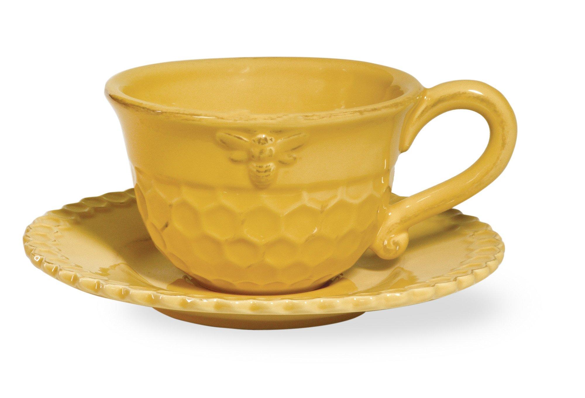 Boston International Honeycomb Ceramic Teacup and Saucer, Honey