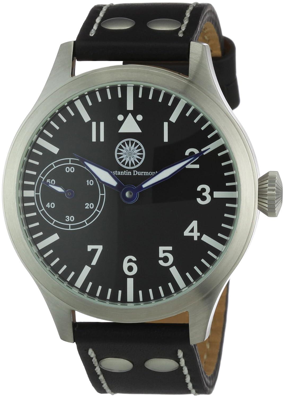 Constantin Durmont Raider - Reloj analógico de caballero manual con correa de piel negra - sumergible a 30 metros