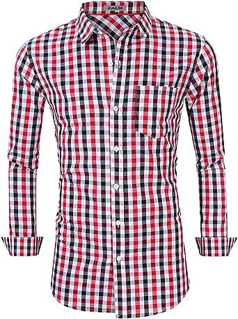 KUULEE Camisa de Hombre Manga Larga a Cuadros (Rojo, XL): Amazon.es: Ropa y accesorios