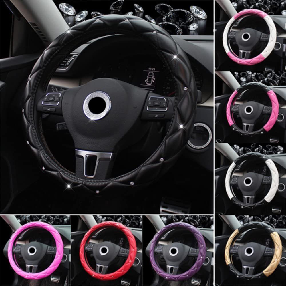 Universal Car Steering Wheel Cover Steering Wheel Cover Diamonds PU Leather 37-39CM//15 Anti Slip Protector Steering Wheel Protector For Women /& Girls Black/&Golden