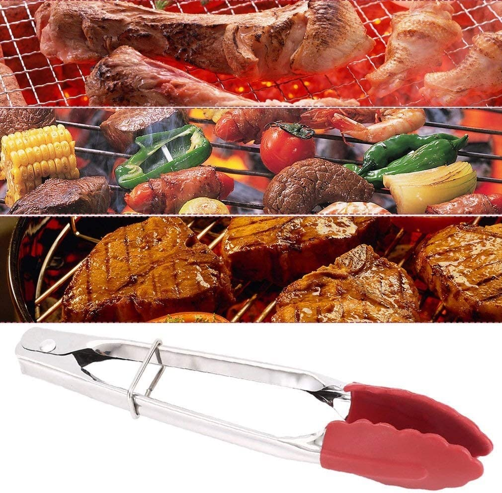 Cuisine Antidérapante En Silicone Cuisine Pinces Barbecue Tenailles Viande Cuisson Du Pain Tenailles Clip Barbecue Clip En Acier Inoxydable Ustensile De Cuisine (Color : GREEN) Red