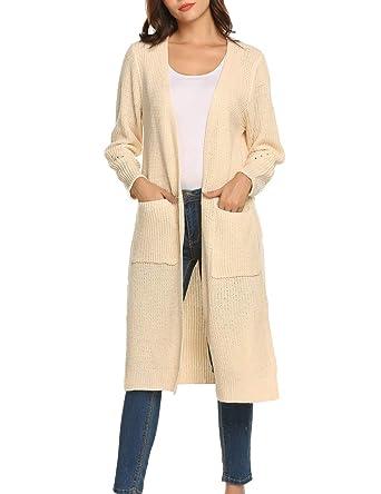 3cc35c0354e AKEWEI Female Oversized Basic Chunky Flowy Casual Warm Cardigan Sweater  Cream Colored