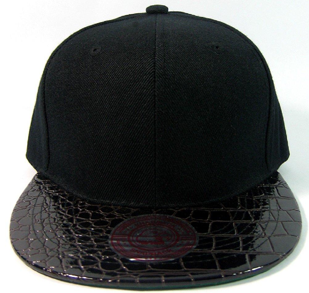 Black Alligator Faux Skin Snapback Hat Cap Flat Bill