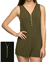 makeitmint Women's Sleeveless V-Neck Zipper romper w/ Elastic Waist