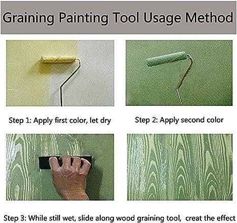 Herramienta de Grano de Madera de Imitaci/óN de Papel Tapiz de Arte 2 PCS Wood Graining Painting Tool Kirmax 7 Pulgadas Empaistic Pattern Roller Painter