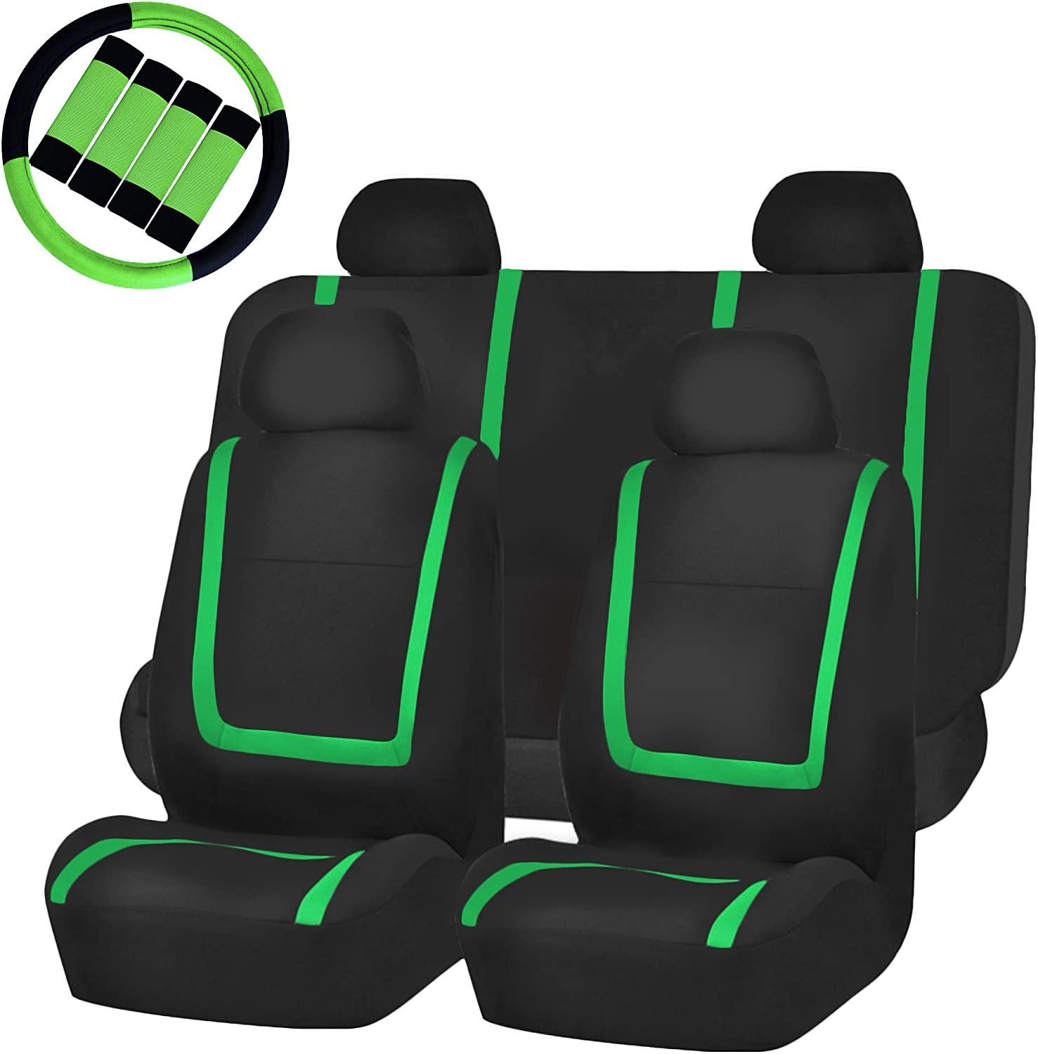 FH Group FB032114 Unique Flat Cloth Full Set Car Seat Covers, Green/Black w, 1 Steering Wheel Cover & 4 seat Belt Pads- Fit Most Car, Truck, SUV, or Van