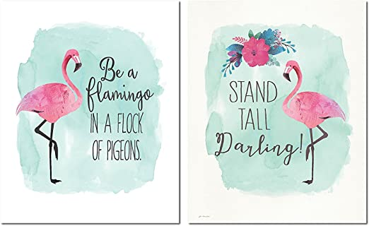Flamingo Born To Stand Out  Watercolour Quote Art Print Unframed Gift Home