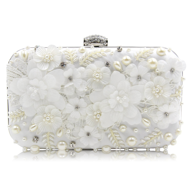 Flada Women Clutch Bags Rhinestones Floweres Evening Handbags Purses Exquisite Beaded for Wedding Party