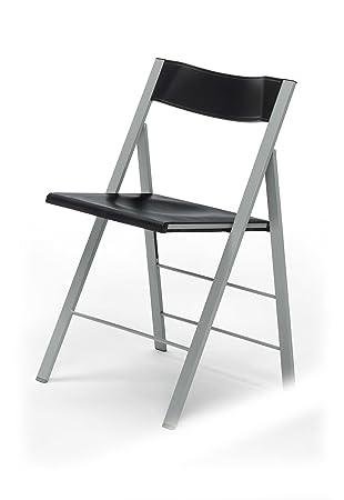 Due-home Silla plegable sillas taburetes, color negro