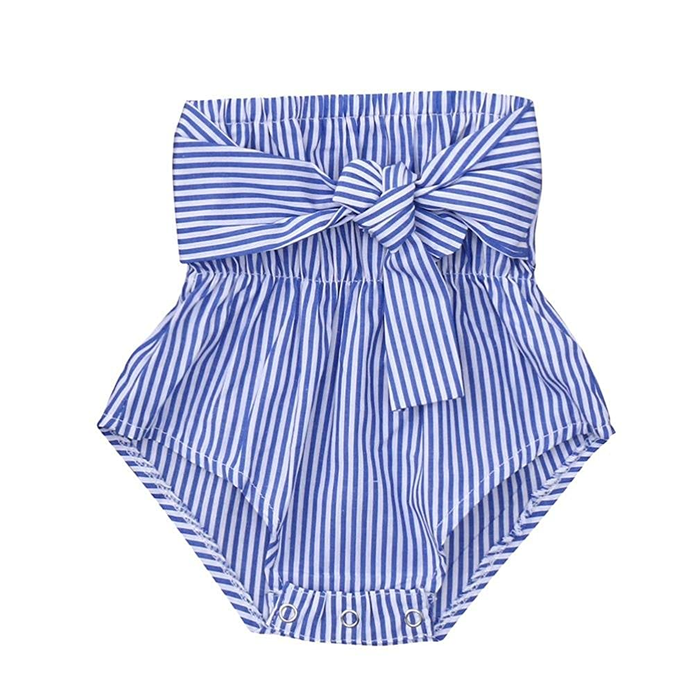 998cff60801 Amazon.com  OUBAO Baby Romper Summer Newborn Infant Baby Girls Sleeveless  Solid Striped Boob Tube Top Romper Jumpsuit Clothes  Clothing