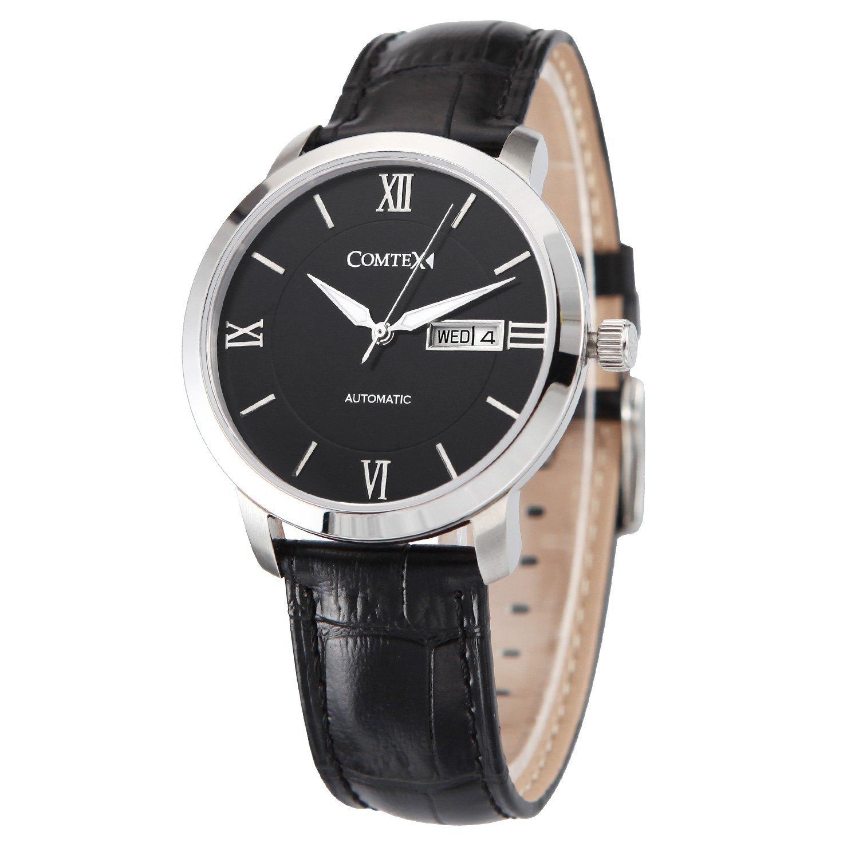 Comtex Herren- Mechanische Automatik Armbanduhr mit Schwarzes Leder