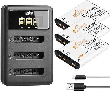 3-Pack 1200mAh, 3.7V, Li-Ion /& Charger Set for Nikon EN-EL10 Digital Camera Battery /& Charger Kit Replacement Nikon EN-EL10 Battery