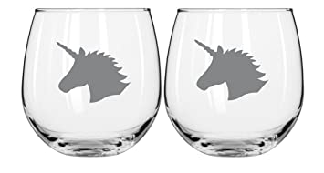 Unicorn Gifts For Women Stemless Wine Glasses   Funny Majestic Unicorns   Set Of