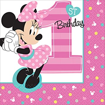 Amazon.com: 1er Cumpleaños Minnie Mouse Bebida Servilletas ...