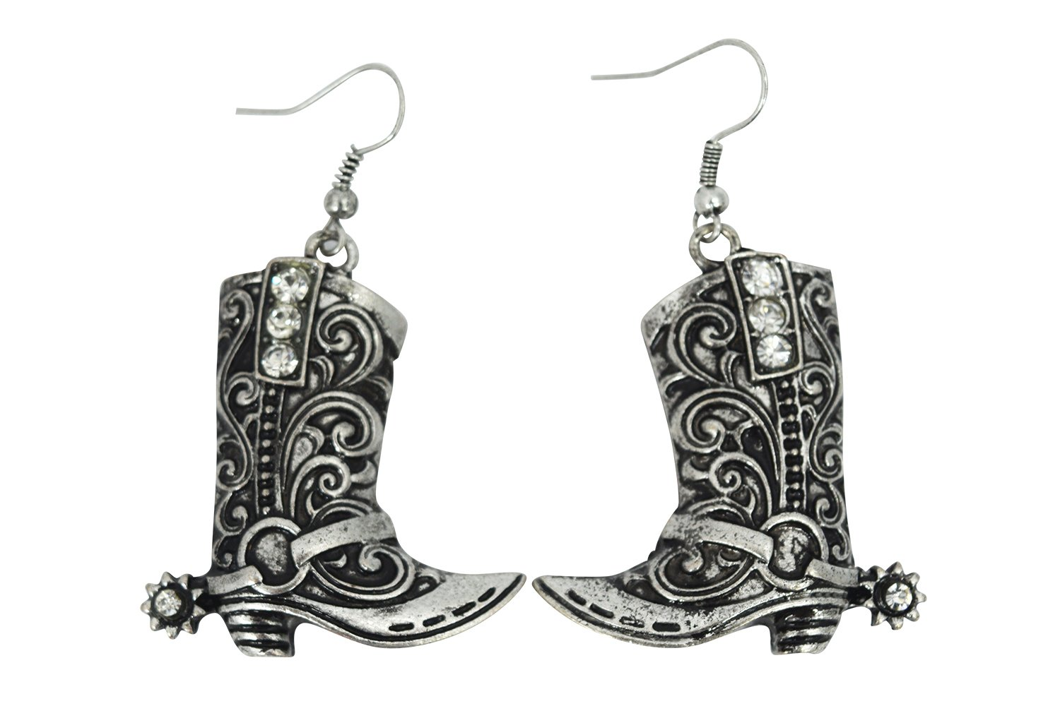 Western Cowgirl cowboy boot earrings silver Tone