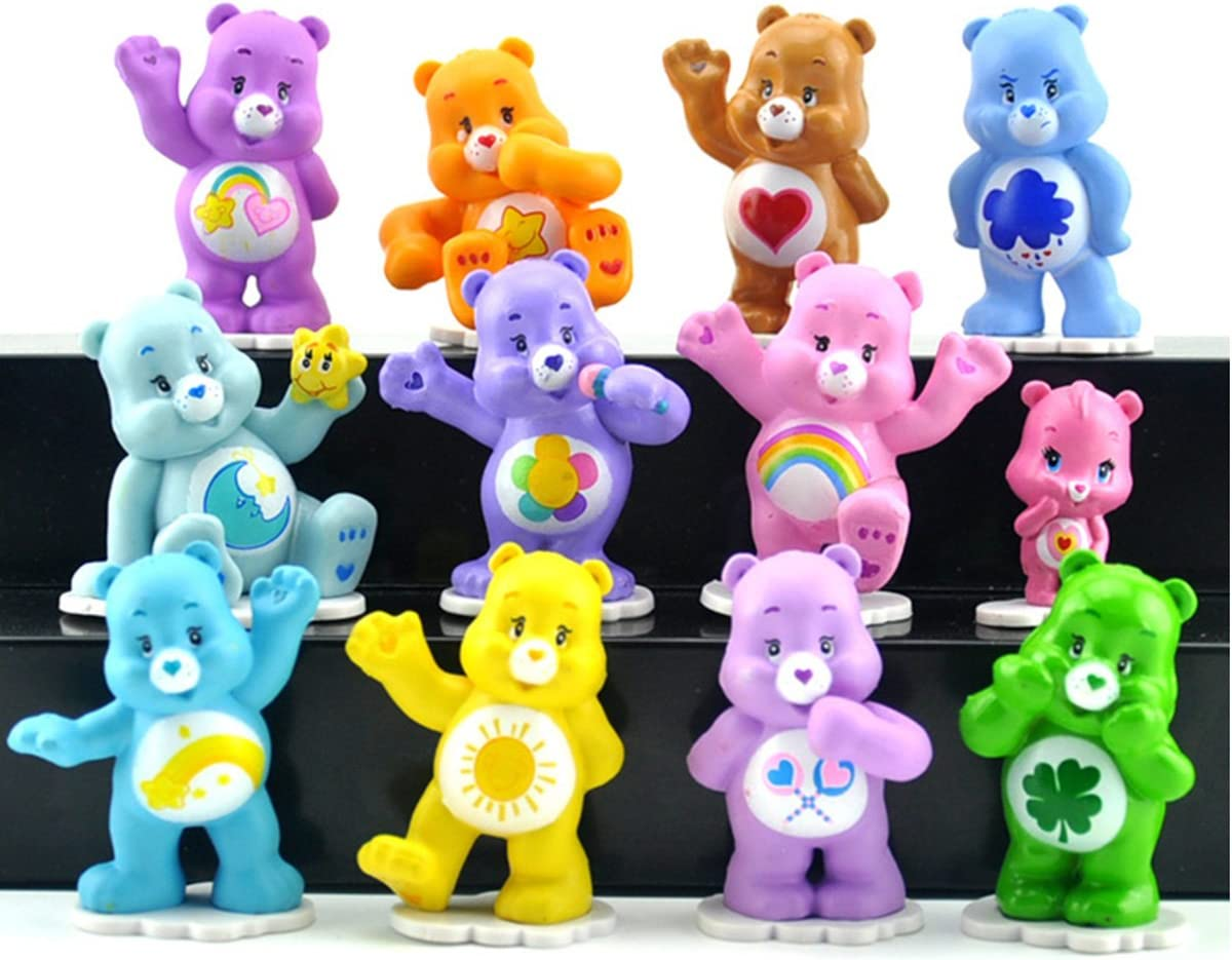 2018 CARE BEARS CAKE TOPPERS set of 12 PLASTIC FIGURES TOYS birthday party bags