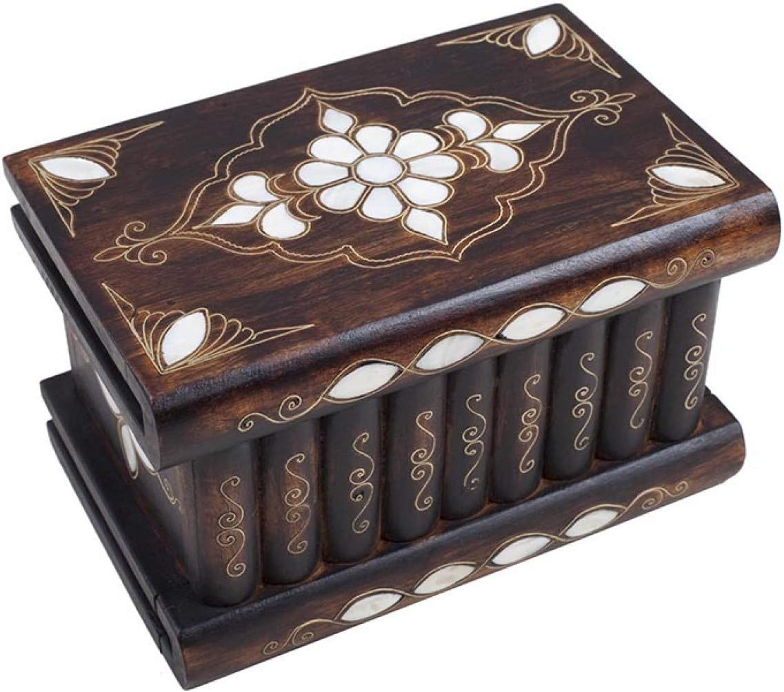 """Tubibu - Unique Treasure Within Puzzle Secret Magic Box Hand Made Unique Jewelry Box Mother of Pearl Inlay- Walnut Wood-Genuine Mother of Pearl (8.26""""x5.11""""x4.72"""")"""
