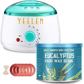 【Tea Tree Essential Oil】Yeelen Wax Warmer Hair Removal Waxing Kit with  10 58oz Essential Oil Hard Wax