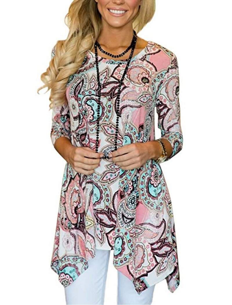 Halife Women Fit And Flare 3/4 Sleeve Floral Print Flowy Tunic Shirts Pink1 XL 1X