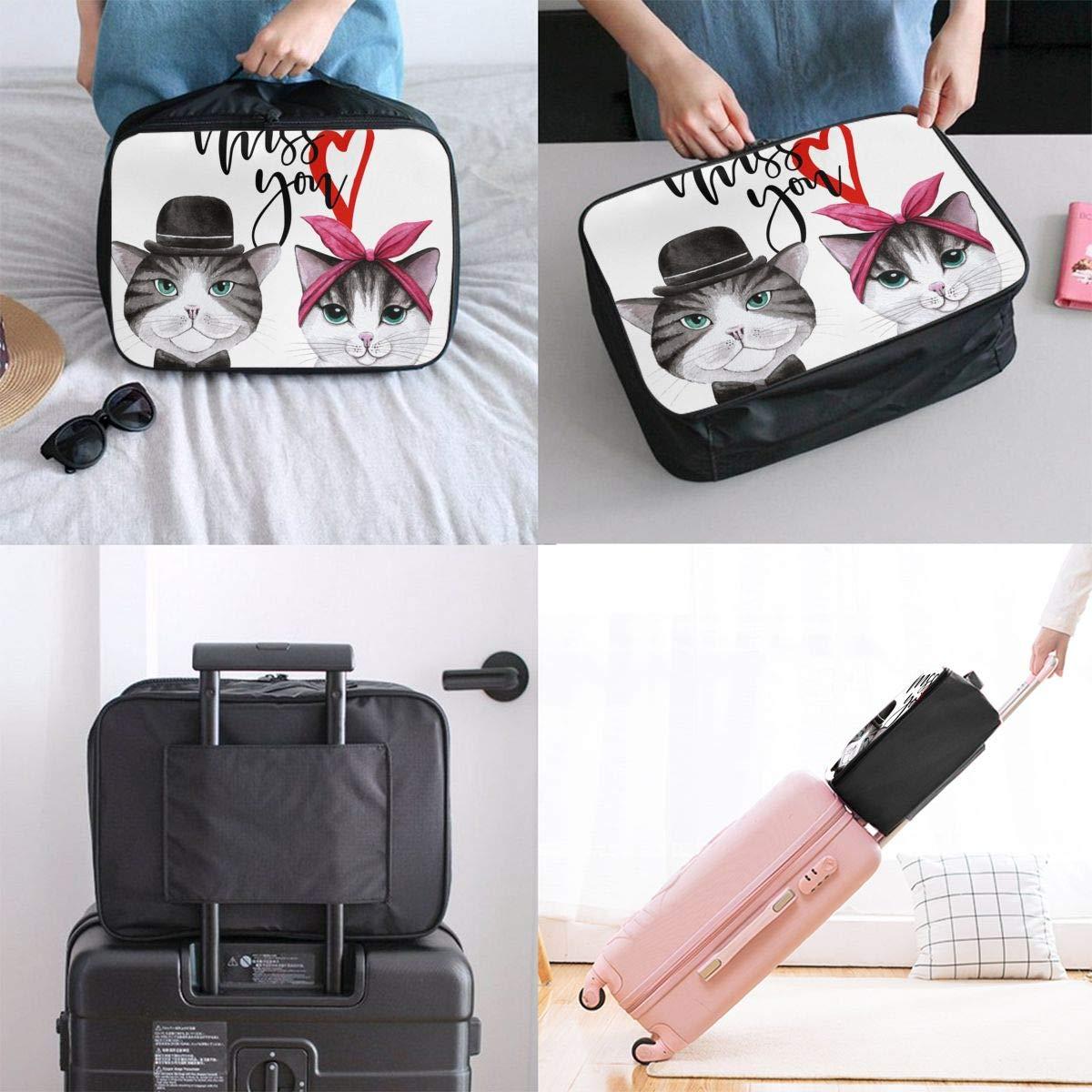 ADGAI Cat Lovers Canvas Travel Weekender Bag,Fashion Custom Lightweight Large Capacity Portable Luggage Bag,Suitcase Trolley Bag