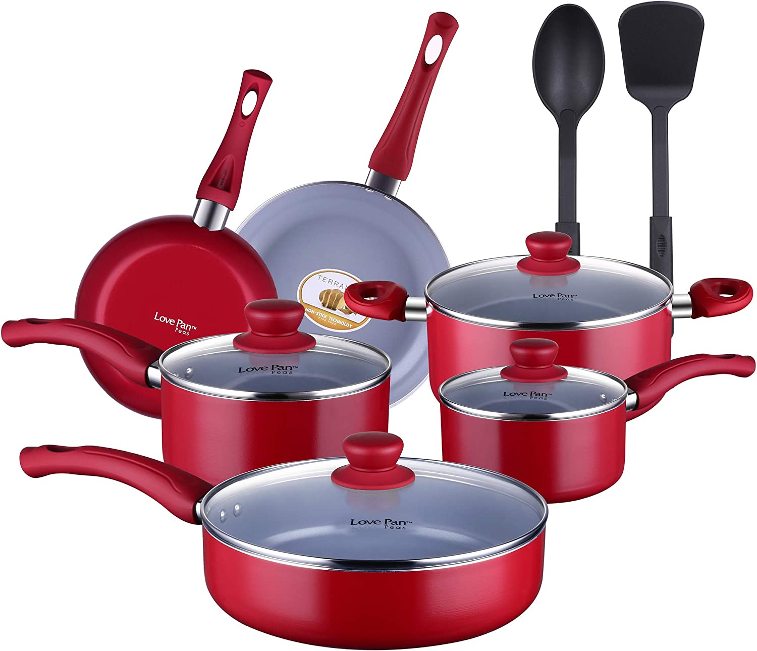 Amazon Com Americook Non Stick Ceramic Kitchen Cookware Set Pots And Pan Set Non Stick Cooking Pots Non Toxic Frying Pan Sauce Pan 12 Piece Red Kitchen Dining